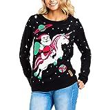 Tipsy Elves Women's Santa Unicorn Christmas Sweater - Ugly Christmas Sweater for Women