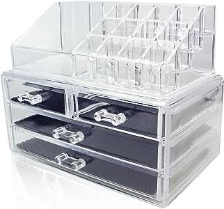 Amzdeal メイク収納ケース コスメ収納スタンド 格子デザイン化粧収納 化粧品 口紅 透明 メイクボックス
