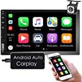 Nhopeew Android Auto/Apple CarPlay Double Din Car Stereo, 7 inch Touchscreen Car Radio with Backup Camera, Bluetooth/FM/RCA/M