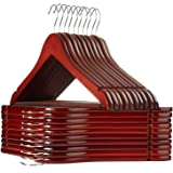 Casafield - 20 Cherry Wooden Suit Hangers - Premium Lotus Wood with Notches & Chrome Swivel Hook for Dress Clothes, Coats, Ja