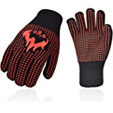 Vgo 2双入 耐熱手袋 BBQ シリコン加工 滑り止め 柔らか グリップ感 耐熱グローブ グリル, ベーキング,調理用,クッキングに適用(2双入,Black,CT2151-B)