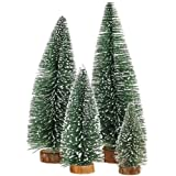 Uniprime Mini Christmas Tree, Small Pine Tree with Wooden Bases for Xmas Holiday Party Home Tabletop Tree Decor (4pcs)