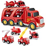 SLENPET Fire Truck Toys for 2 3 4 5 Years Old Boys Kids Toddlers, Vehicles Toy Set with Light and Sound, Large Transport Carg