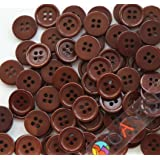 "GANSSIA 0.59"" (15mm) Sewing Flatback Buttons Colored Brown Pack of 160 Pcs"