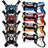 Infrared Laser Tag, Upgraded Blasters Gun Toys with Vest Infrared Battle Mega Pack Set of 4 Indoor and Outdoor, Group Activit