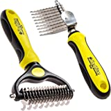 ShedTitan Pet Grooming Tools Value Bundle - 2 Sided Undercoat Rake & Long Teeth Dematting Comb for Dog, Cat, Horse - Easy & S