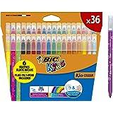 BIC Kids Couleur Felt Tip Colouring Marker Pen Medium Point - Assorted Colours, Pack of 36 Coloured Felt Pens Markers (937443