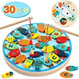 Lewo 30 PCS Magnetic Fishing Game Toddler Wooden Toys Preschool Alphabet Fish Board Games for 2 3 4 Year Old Girls Boys Kids