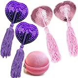 Reusable Silicone Sequin Adhesive Nipple Cover Pasties Bra with Tassel Heart Pasties Adhesive Nipple Cover (2 Pairs-Pink+Purp