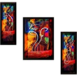 Nobility Ganesha Framed Painting - Wall Art Set of 03