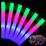 TURNMEON 32PCS 19''Glow Sticks Bulk Party Supplies, Glow in The Dark LED Foam Glow Sticks 3 Flashing Modes Color Changing Jul