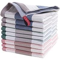 AKASKARI ハンドタオル タオル 吸水力抜群 9枚セット 綿100% 柔らかい 重さ約45g/枚 サイズ34*34…