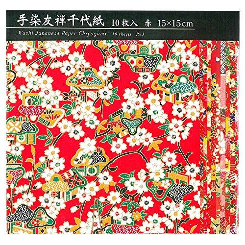 エヒメ紙工手染友禅千代紙15cm10枚 赤 TZM-5015R 2個 エヒメ紙工