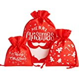 CCINEE Christmas Drawstring Gift Bags,Xmas Assorted Goody Bags Gift Wrapping Fbric Bags for Holiday Party,Pack of 12