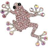 EVER FAITH Women's Austrian Crystal Adorable Jumping Frog Animal Brooch