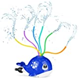 Fixget Water Sprinkler Toy for Kids, Water Spray Sprinkler Toy with 6 Colorful Wiggle Tubes, Cool Spinning Whale Splash Fun G