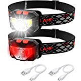 Rechargeable LED Headlamp, 2 Pack Bright Ultra-Light Headlamps for Adults Kids, 6 Modes White & Red lamp Angle Adjustable Wat