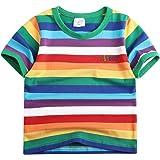 Sooxiwood Little Boys Short Sets Rainbow Striped Letters