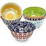 Annovero Cereal Bowls, Large Porcelain Bowls Perfect for Cereal, Soup, or Pasta, Microwave & Dishwasher Safe, 6.1 Inch, Set o