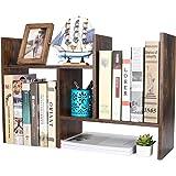 PAG Wood Desktop Bookshelf Assembled Countertop Bookcase Adjustable Literature Display Rack, Antique Brown