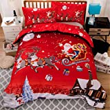 Merry Christmas Duvet Cover Set Queen Santa Claus Printed Bedding Cover Set Kids Teens Adults, Microfiber, Red Santa Claus, Q