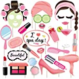 25Pcs Spa Photo Booth Props with Stick, Spa Party Decorations for Women, Spa Party Decorations for Girls, Makeup Party Decora