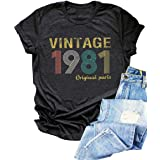Vintage 1981 T Shirt Women Original Parts Letter Tees 40th Birthday Shirts for Gift Cute Birthday Party Shirt Tops