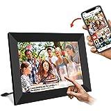 WiFi デジタルフォトフレーム 10.1インチ - UCMDA IPS広角視野/タッチスクリーン/16GB/写真動画再生 スライドショー/無料frameo制御(黒)