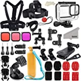 Kupton Accessories Kit Bundle for GoPro Hero 8 Black, Waterproof Housing + Sleeve Case + Filters + Head Chest Strap + Suction