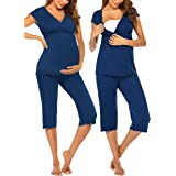 Ekouaer Women Layered Maternity & Nursing Pajama Capri Set Cotton Hospital PJS Set Pregnancy Breastfeeding Sleepwear(S-XXL)