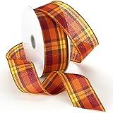 Morex Ribbon Abundance Wired Plaid Fabric Ribbon, 6.4cm by 50-Yard Spool, Pumpkin