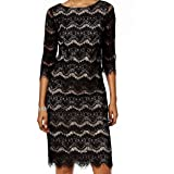 Jessica Howard | Lace Illusion Sheath Dress | Black/Tan