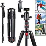 """Rimposky Camera Tripod, 1/4"""" DSLR Tripod with 360° Ball Head,180 cm Aluminum Tripod with Monopod Quick Release Plate for Vlog"""