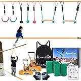 BRAVEWAY スラックライン セット すらっくらいん ギボン 遊具 スポーツ練習 フィットネス バランス 体幹 トレーニング アウトドア 子供 家庭用 12 m