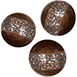 Schonwerk Walnut Decorative Orbs for Bowls and Vases (Set of 3) Resin Sphere Balls | Dining/ Coffee Table Centerpiece | Great