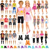 Barwa 39 Accessories Selected Randomly for 11.5 Inch Girl and Boy Dolls: 10 Clothes + 4 PCS Shoes for Boy Dolls + 5 Tops + 5