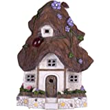 TERESA'S COLLECTIONS Fairy Garden House Outdoor Cottage Statue with Solar Lights Polyresin Garden Figurines for Outdoor Decor