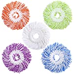 TOOGOO Microfiber Cotton Spin Mop Heads Replacement - 5 Pack Refills Compatible 360 Spinning Magic Mops - Round Shape...