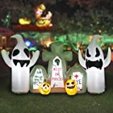 HOOJO 8FT Long Halloween Ghost with Tombstone Inflatable Decoration with Build in LEDs, Blow up Indoor, Yard, Garden Lawn Dec