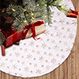 """Dremisland Christmas Tree Skirt 36"""" Large White&Gold Luxury Faux Fur Tree Skirt with Snowflakes Super Soft Thick Plush Tree S"""