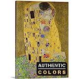 """ARTCANVAS The Kiss - Rectangle 1907 Canvas Art Print (Authentic Colors) by Gustav Klimt, 26"""" x 18"""" (0.75"""" Deep)"""