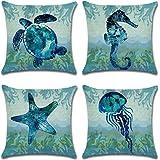 Qinqingo Throw Pillow Covers Sea Theme Marine Animal Pattern Cotton Linen Pillow Covers Home Decorative Sofa Summer Beach Thr