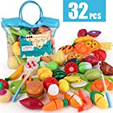 Sotodik 32PCS Cutting Toys Pretend Food Fruits Vegetable Playset Educational Learning Toy Kitchen Play Food for Boy Girl Kid