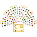 MORCART 96 PCS Fridge Magnets for Kids, Kitchen Food Series Refrigerator Magnets, Fruits Breakfast Vegetables Seafoods Salad