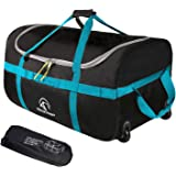 """REDCAMP Foldable Duffle Bag with Wheels 85L 26"""", 1680D Oxford Collapsible Large Duffel Bag with Rollers for Camping Travel Ge"""