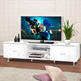 Artiss TV Unit 160cm Length Entertainment Unit High Gloss TV Cabinet Console Table, White