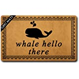 GXFC Welcome Mat with Rubber Back Whale Hello There Doormat Whalecum Welcome Mats Funny Doormat for Entrance Way Monogram Mat