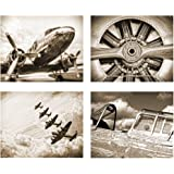 Antique Sepia Vintage Aviation Wall Art Set of Four 8x10 Airplane Theme Decor Prints Great for Mens Gift Office Home Bachelor