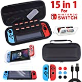 Nintendo Switch ケース 15 in 1 セット【収納バッグ+PC全面カバー+2個Joy-Con用TPUカ…