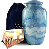 """Adult Urn for Human Ashes Blue Marble uniquely Hand-painted Large Urn for Ashes included -25 pack- """"Share a Memory"""" cards to"""